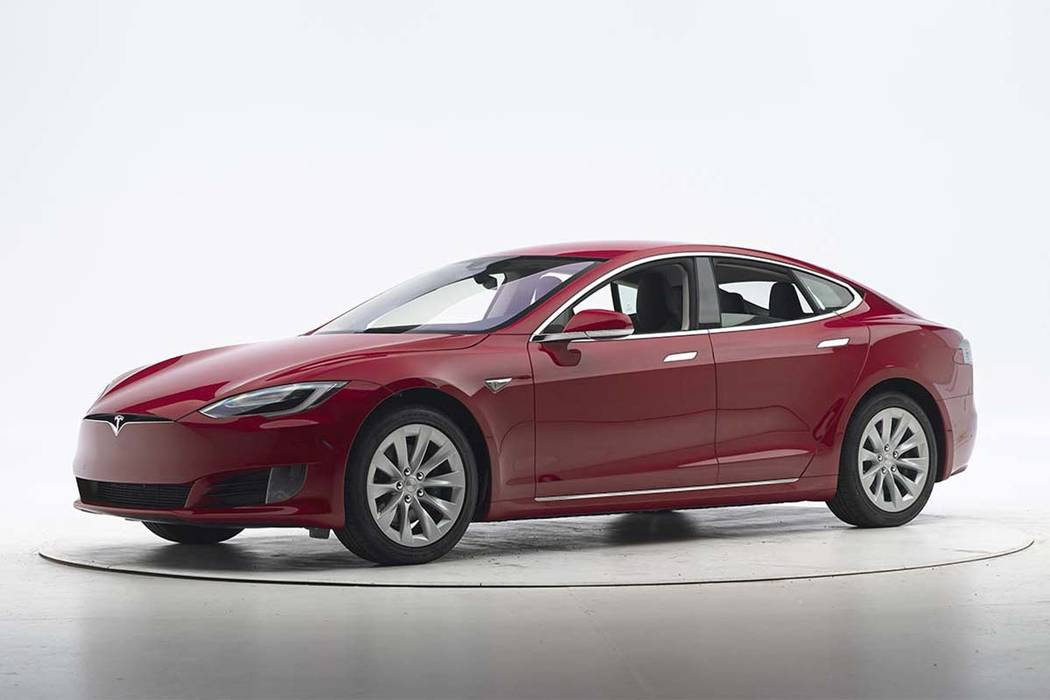 A Tesla Model S on Sept. 7, 2016, before crash safety testing. The car earned good ratings in four of the institute's five tests, but fell short of getting the highest safety rating in the newes ...