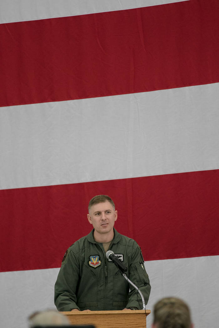 Lt. Col. Michael Blauser gives a brief history of fighter jets at Nellis Air Force Base during an activation ceremony of an F-35A Lightning II aircraft on Tuesday, June 21, 2017, in Las Vegas. Mor ...