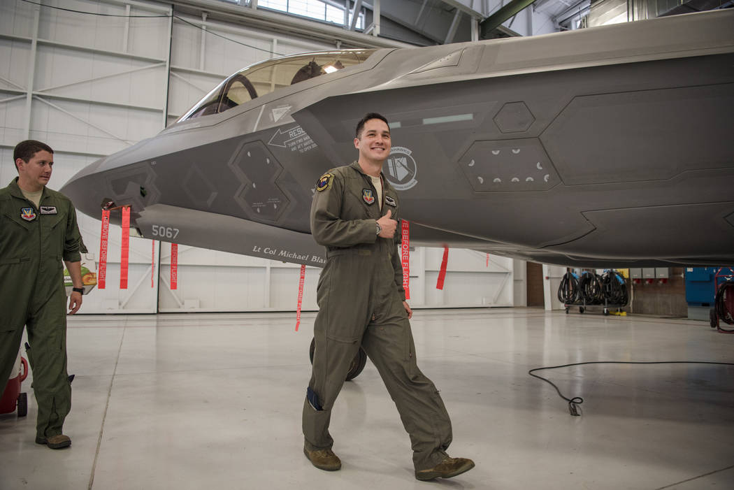 Wang Chung-Werner showing a smile at Nellis Air Force Base after an activation ceremony of an F-35A Lightning II aircraft on Tuesday, June 21, 2017, in Las Vegas. Morgan Lieberman Las Vegas Review ...