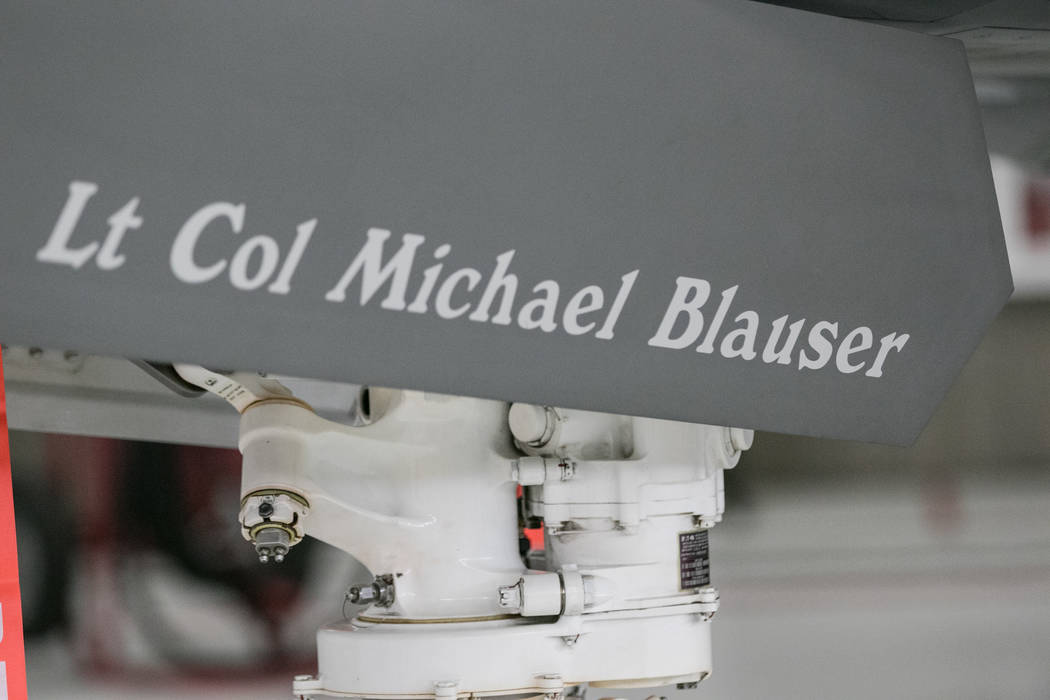 The F-35A lettering of Lt. Col. Michael Blauser's name at Nellis Air Force Base during an activation ceremony of an F-35A Lightning II aircraft on Tuesday, June 21, 2017, in Las Vegas. Morgan Lieb ...
