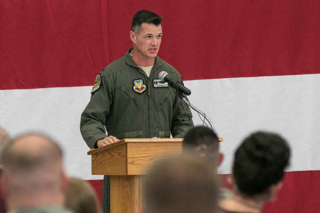 Col. Michael R. Drowley gives brief remarks at  Nellis Air Force Base for an activation ceremony of an F-35A Lightning II aircraft on Tuesday, June 21, 2017, in Las Vegas. Morgan Lieberman Las Veg ...