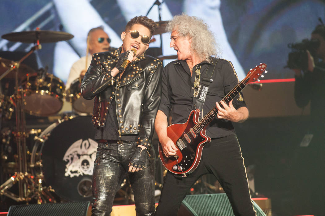 Adam Lambert, left, and Brian May of Queen + Adam Lambert perform at The Joint at the Hard Rock Hotel in Las Vegas on Saturday, July 5, 2014. (Chase Stevens/Las Vegas Review-Journal)