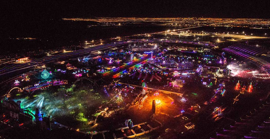 The 21st annual Electric Daisy Carnival from a helicopter flight. (Tom Donoghue)