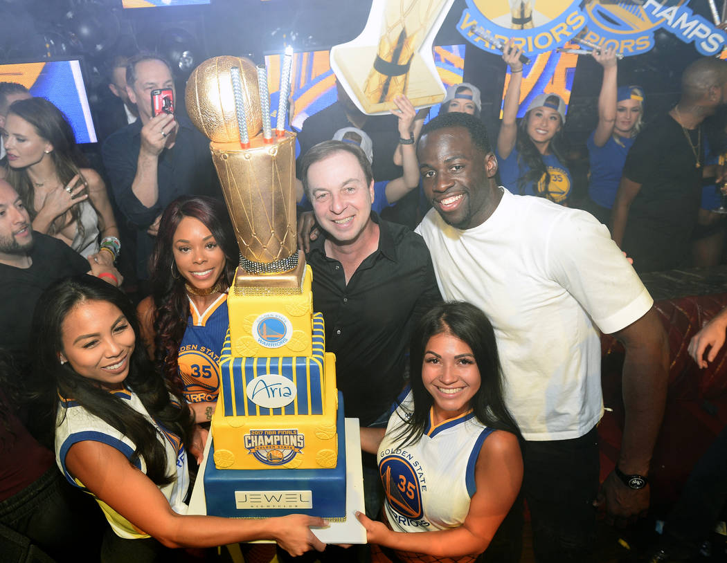 Draymond Green of the Golden State Warriors and team co-owner Joseph Lacob celebrate the Warriors' NBA championship at Jewell Nightclub at Aria on Friday, June 16, 2017. (Tony Tran Photography)