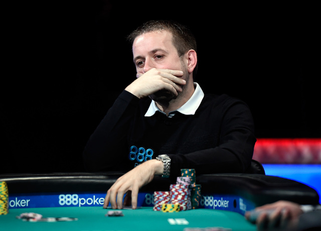 Kenny Hallaert of Belgium ponders his bet during the final table of the Main Event on Oct. 30, 2016. Hallaert leads the final 18 players in the $5,000 buy-in Six-handed No-limit Hold 'em tournam ...