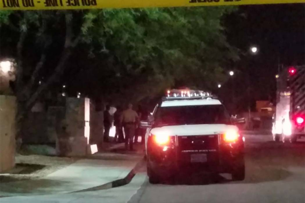 Las Vegas police shot a person Tuesday morning inside an apartment at 1111 S. Cimarron Road after responding to domestic-related incident. (Mike Shoro/Las Vegas Review-Journal)