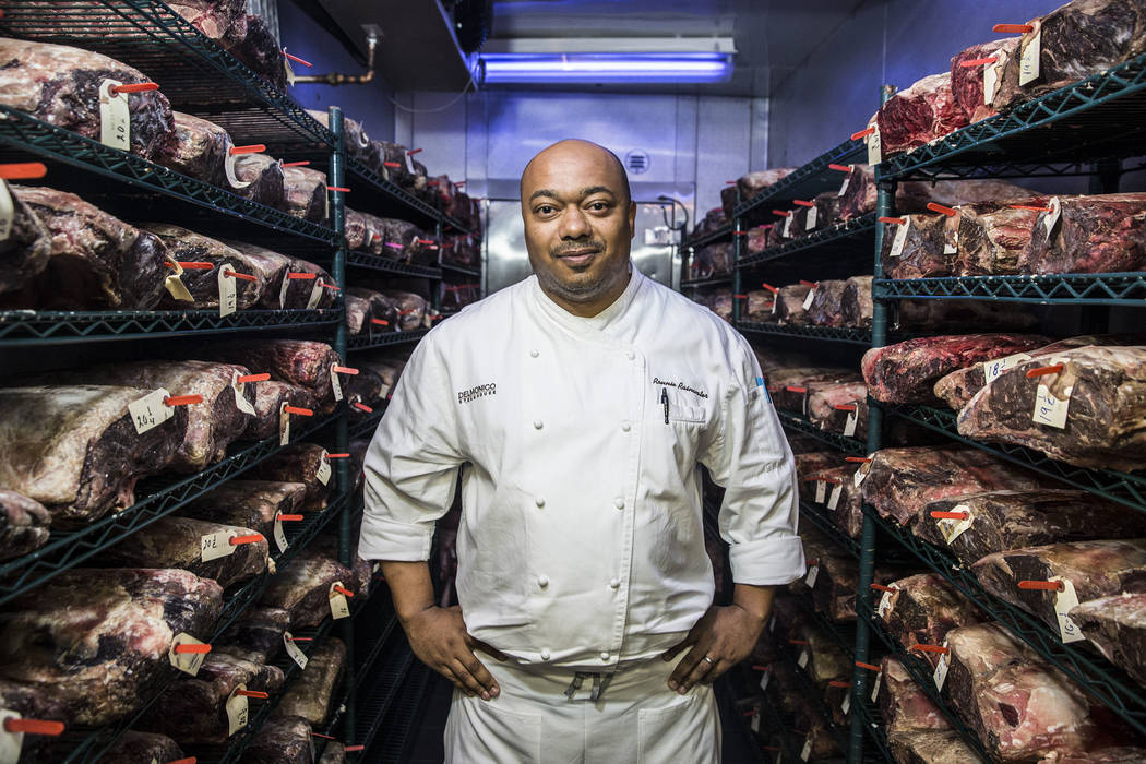 Ronnie Rainwater, chef de cuisine at Delmonico, with dry aged beef on Saturday, June 17, 2017, at The Venetian hotel-casino, in Las Vegas. Benjamin Hager Las Vegas Review-Journal @benjaminhphoto
