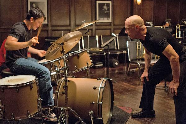 """Miles Teller, left, with J.K. Simmons, in """"Whiplash."""""""