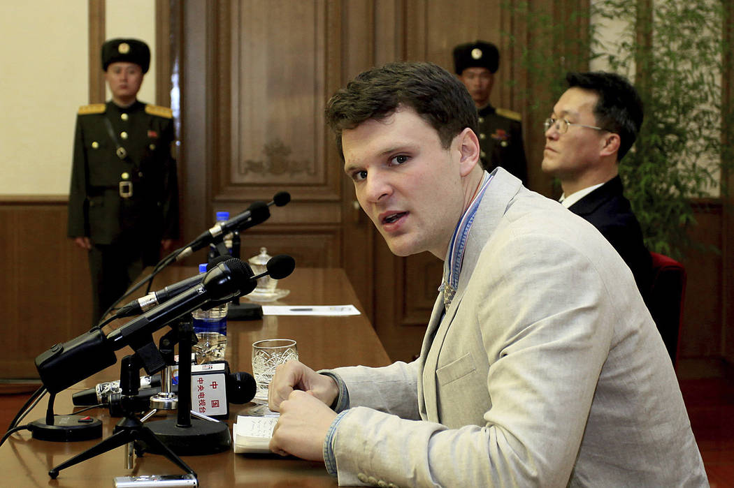 American student Otto Warmbier speaks to reporters in Pyongyang, North Korea, Feb. 29, 2016. Warmbier, who was released by North Korea in a coma last week after almost a year and a half in captivi ...
