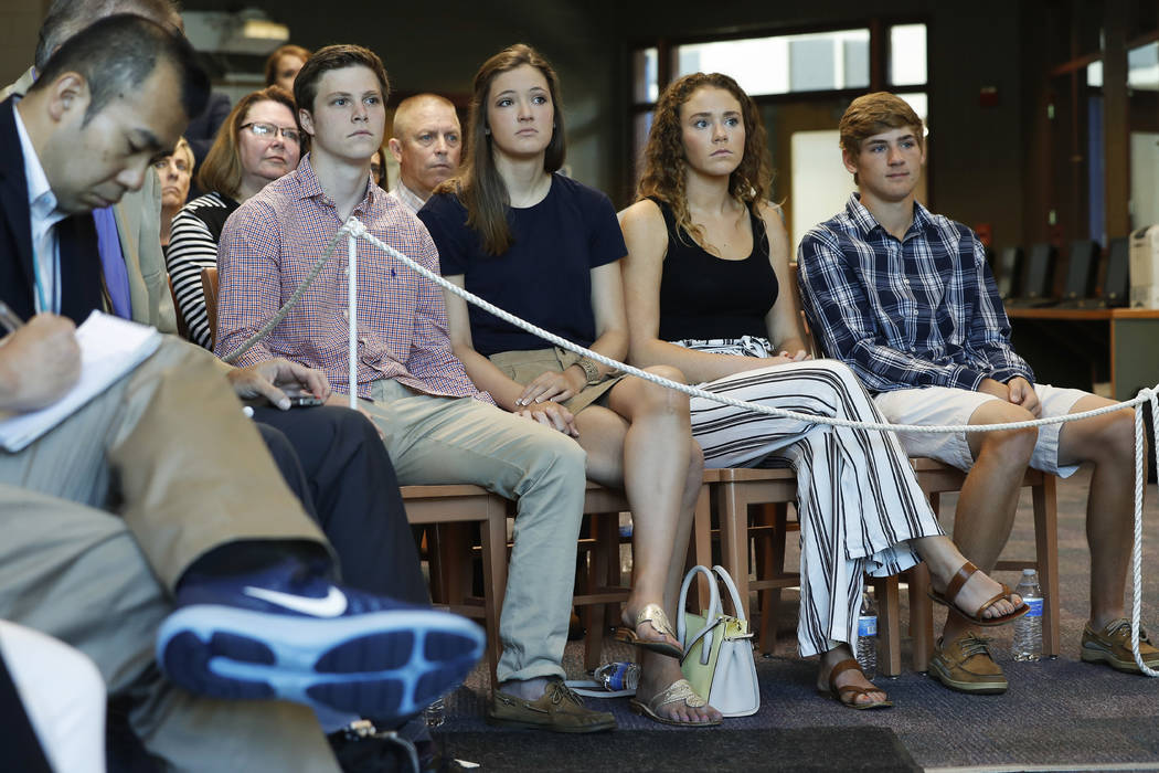 Friends and relatives gather to listen as Fred Warmbier, father of Otto Warmbier, a University of Virginia undergraduate student who was imprisoned in North Korea in March 2016, as he speaks durin ...