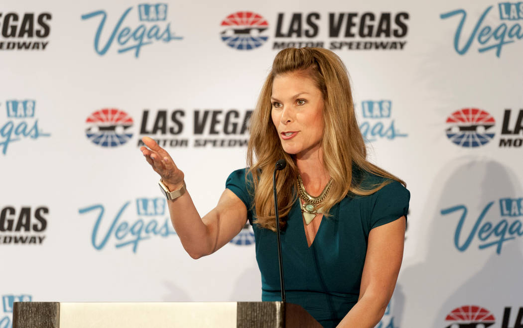Fox NASCAR reporter Jamie Little, the event emcee, speaks during a press conference as the Las Vegas Convention and Visitors Authority (LVCVA) joined with Las Vegas Motor Speedway (LVMS) officials ...