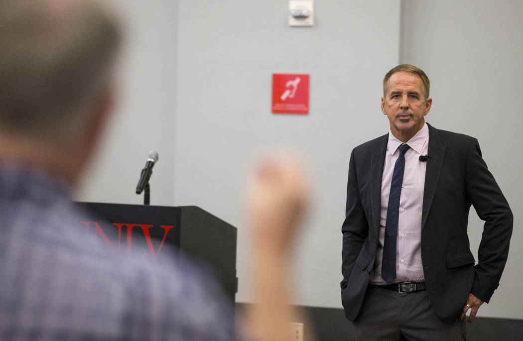 Dr. Thom Reilly, a candidate for Chancellor of the Nevada System of Higher Education,  takes questions from the audience during a candidate forum at the UNLV on Thursday, June 21, 2017. Richard Br ...