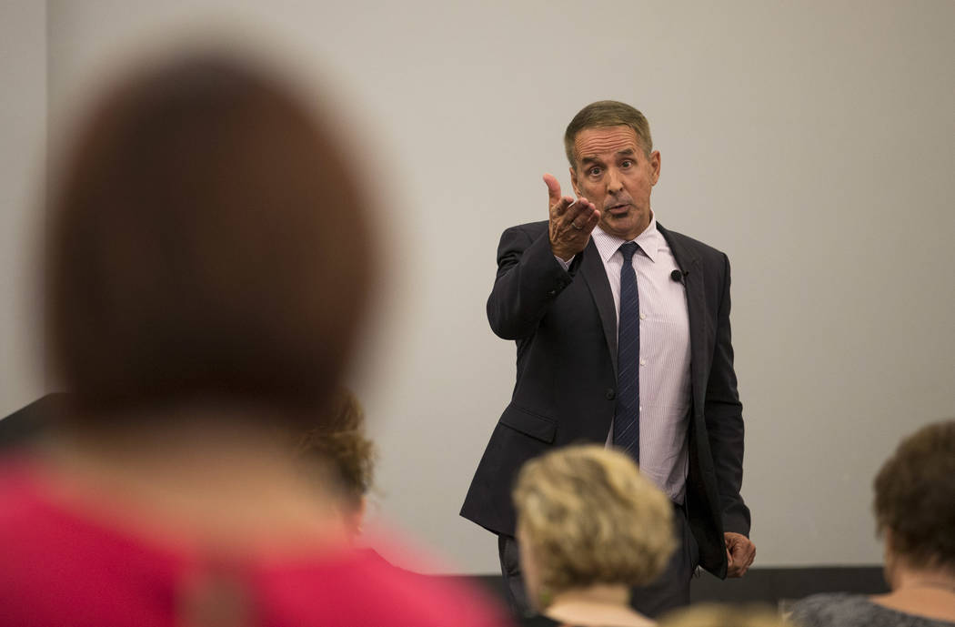 Dr. Thom Reilly, a candidate for Chancellor of the Nevada System of Higher Education,  responds to a question from the audience during a candidate forum at the UNLV on Thursday, June 21, 2017. Ric ...
