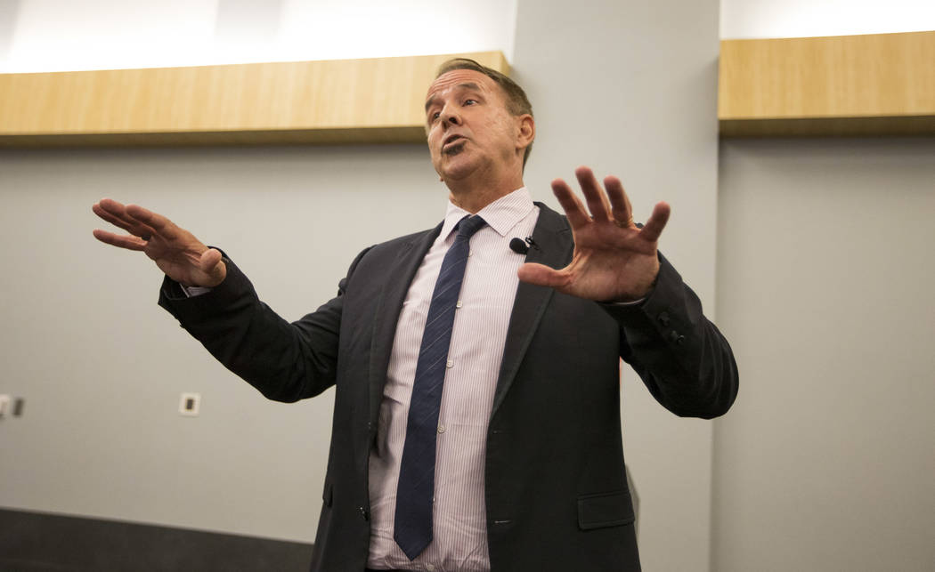Dr. Thom Reilly, a candidate for Chancellor of the Nevada System of Higher Education, speaks during a candidate forum at the UNLV on Thursday, June 21, 2017. Richard Brian Las Vegas Review-Journal ...