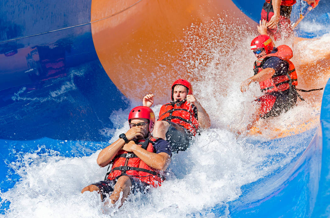Firefighters during a simulation of a rescue in the wash and churning water conditions at Wet'n'Wild Las Vegas in Las Vegas, Wednesday, June 21, 2017. Elizabeth Brumley Las Vegas Review-Journal