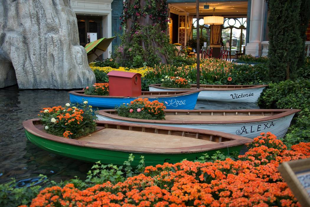 Bellagio's Conservatory and Botanical Gardens summer display includes boats. (Courtesy)