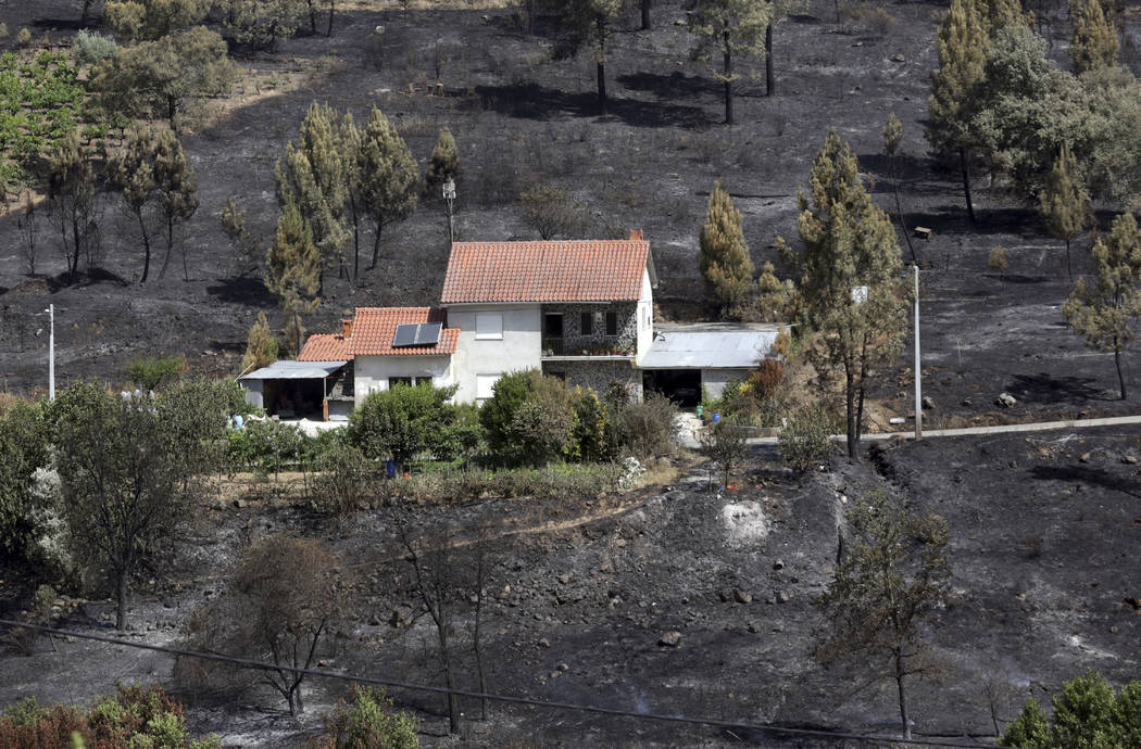 A house that escaped a recent forest fire stands out against the burnt ground in Serra do Macario, central Portugal, Tuesday, June 20 2017. (Armando Franca/AP)