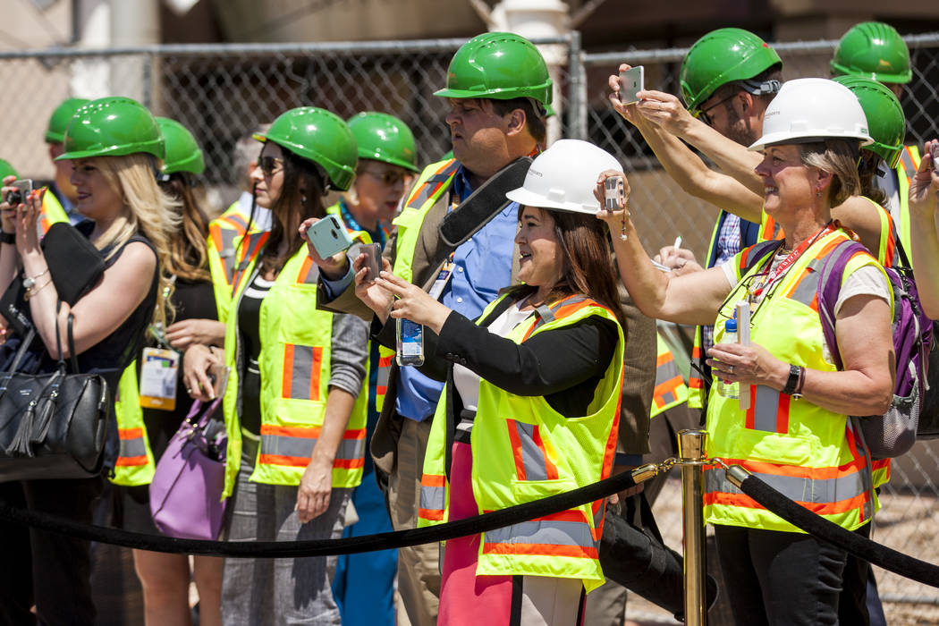 Guests of the ground breaking ceremony for the MGM Grand Convention Center expansion project take photos of the site on Tuesday, June 20, 2017.  Patrick Connolly Las Vegas Review-Journal @PConnPie