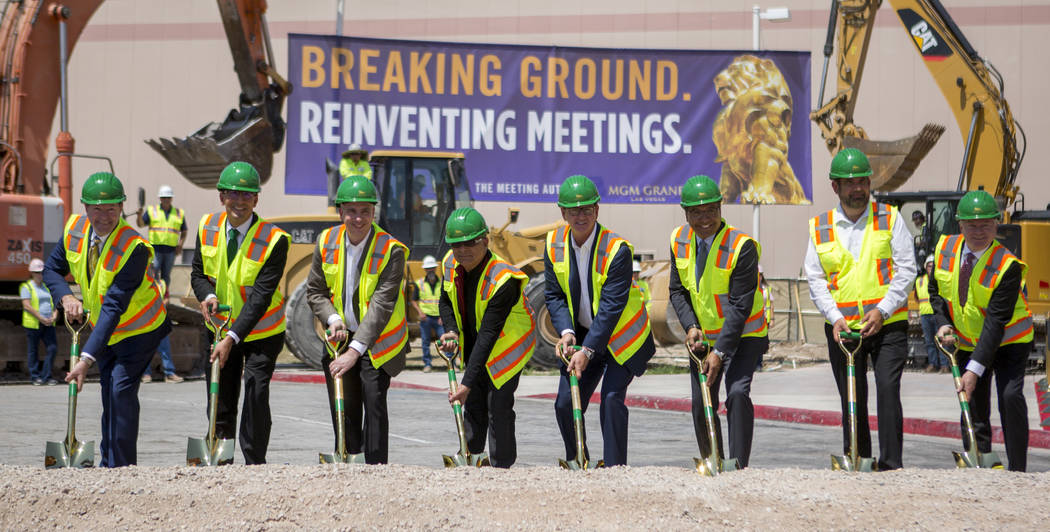 MGM Grand executives and partners prepare for the ground breaking of the MGM Grand Convention Center expansion project on Tuesday, June 20, 2017.  Patrick Connolly Las Vegas Review-Journal @PConnPie