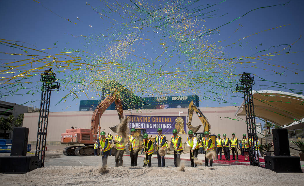 Confetti showers down on MGM Grand executives and partners during the ground breaking of the MGM Grand Convention Center expansion project on Tuesday, June 20, 2017.  Patrick Connolly Las Vegas Re ...