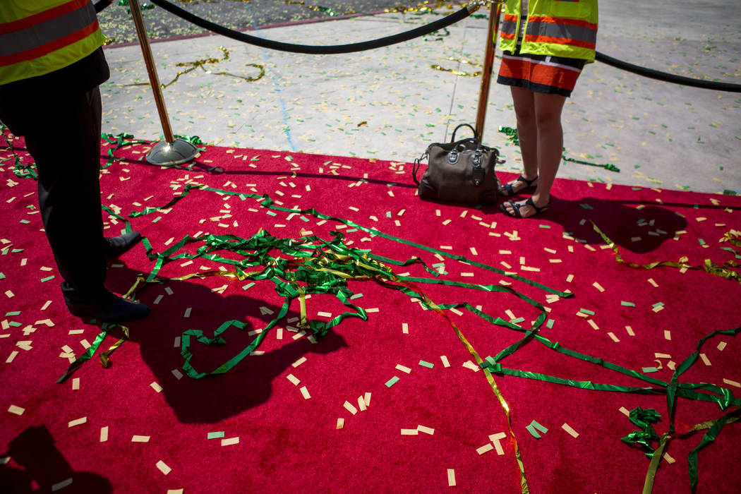 Confetti remains are scattered around following the ground breaking for the MGM Grand Convention Center expansion project on Tuesday, June 20, 2017.  Patrick Connolly Las Vegas Review-Journal @PCo ...
