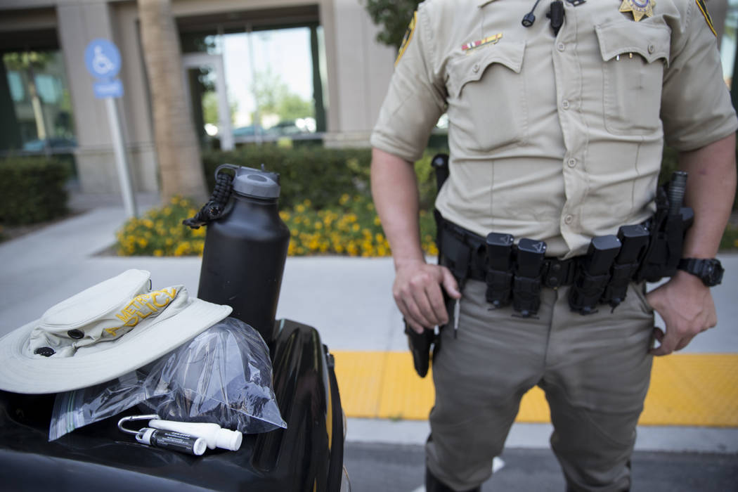 Las Vegas traffic officer Matt Scanlon is interviewed on how he stays cool while on patrol in Las Vegas on Tuesday, June 20, 2017. Erik Verduzco/Las Vegas Review-Journal