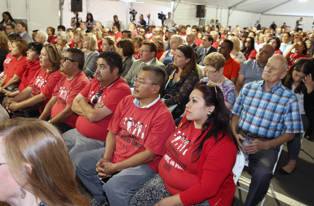 Members of the Culinary Workers Union attend the grand opening ceremony of Culinary Health Center on Thursday, June 15, 2017, in Las Vegas. Bizuayehu Tesfaye/Las Vegas Review-Journal @bizutesfaye