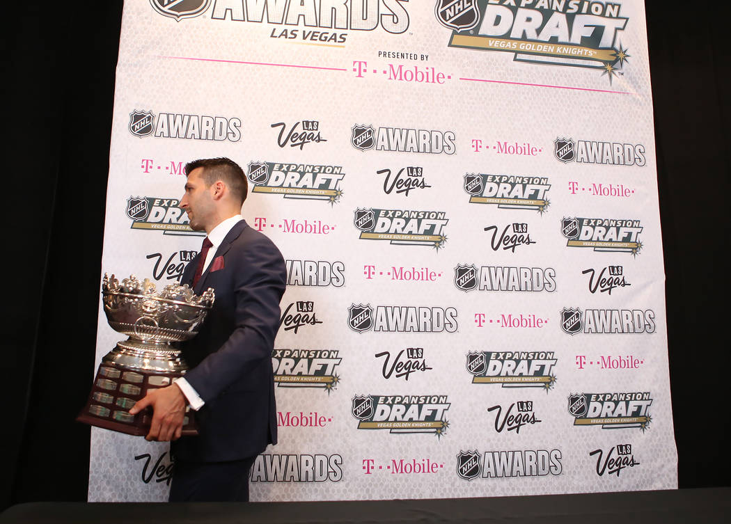 Patrice Bergeron of the Boston Bruins is pictured with the Frank J. Selke Trophy, awarded to him at the 2017 NHL Awards at T-Mobile Arena on Wednesday, June 21, 2017 in Las Vegas. Bridget Bennett  ...