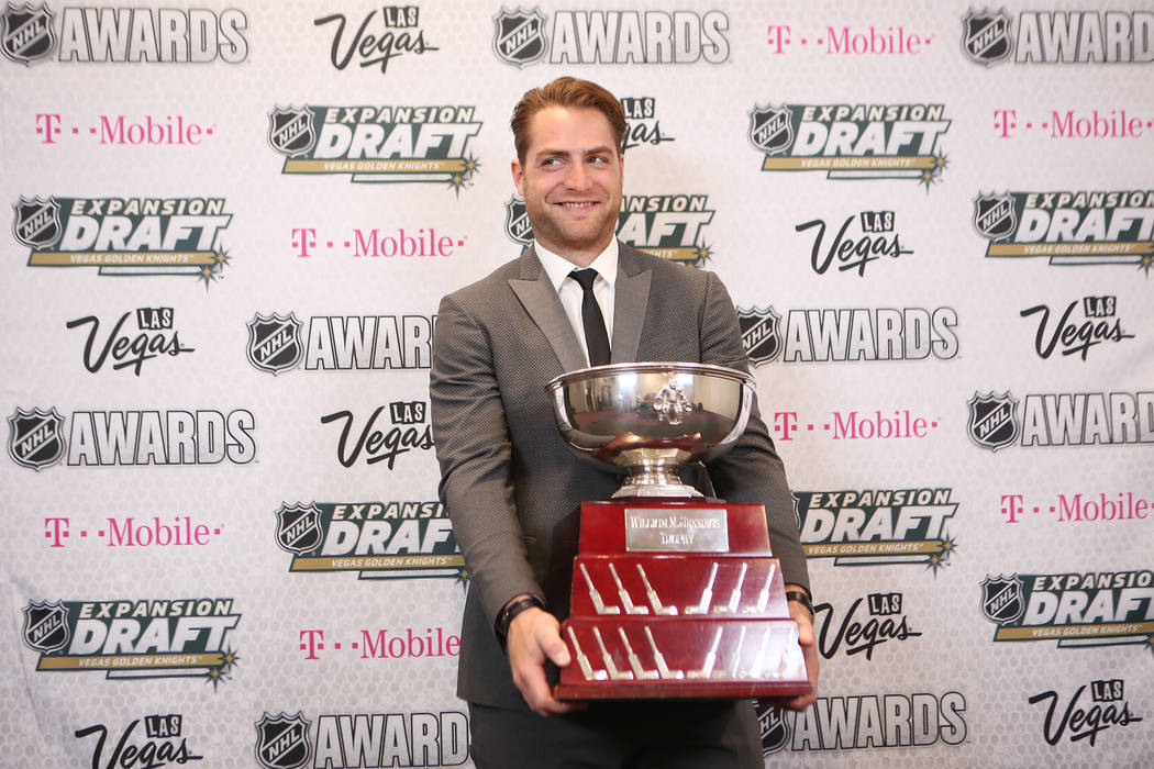 Braden Holtby of the Washington Capitals is pictured with the Williams M. Jennings Trophy that was awarded at the 2017 NHL Awards at T-Mobile Arena on Wednesday, June 21, 2017 in Las Vegas. Bridge ...