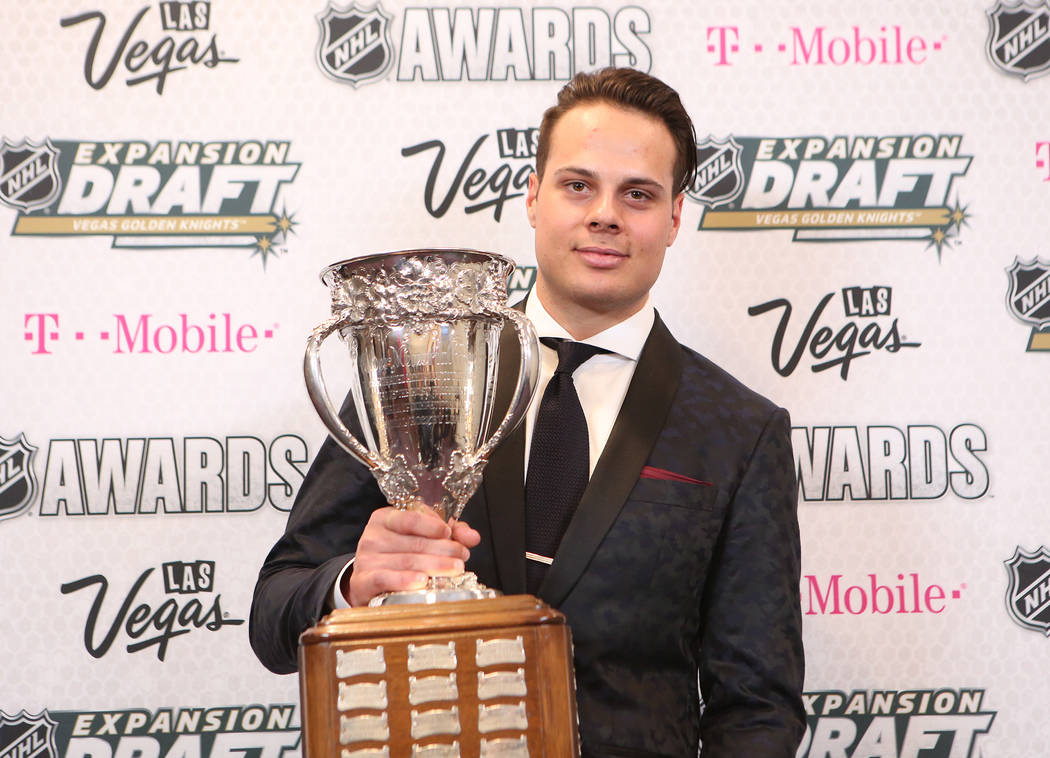 Auston Matthews of the Toronto Maple Leafs is pictured with the Calder Memorial Trophy that was awarded to him at the 2017 NHL Awards at T-Mobile Arena on Wednesday, June 21, 2017 in Las Vegas. Br ...