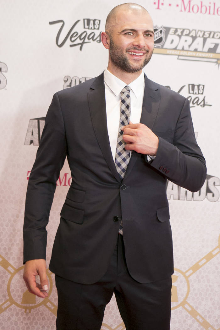 Mark Giordano is pictured on the Magenta Carpet before the 2017 NHL Awards and Expansion Draft at T-Mobile Arena on Wednesday, June 21, 2017 in Las Vegas. Bridget Bennett Las Vegas Review-Journal  ...