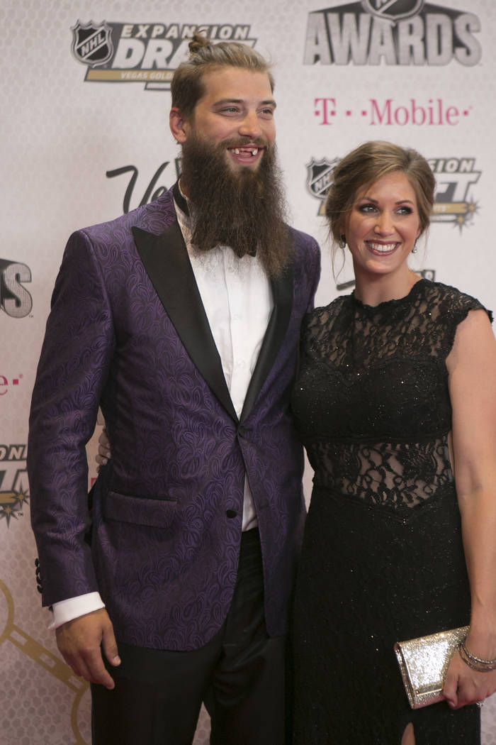 Brent Burns is pictured on the Magenta Carpet before the 2017 NHL Awards and Expansion Draft at T-Mobile Arena on Wednesday, June 21, 2017 in Las Vegas. Bridget Bennett Las Vegas Review-Journal @b ...
