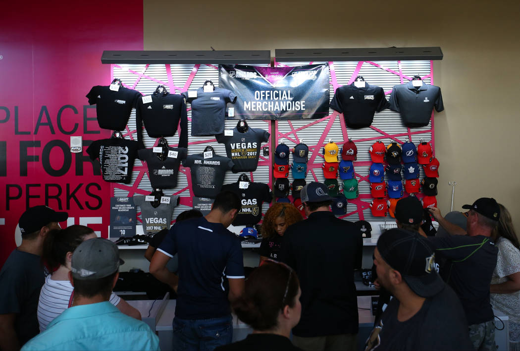 Guests check out Vegas Golden Knights merchandise before the 2017 NHL Awards and Expansion Draft at T-Mobile Arena on Wednesday, June 21, 2017 in Las Vegas. Chase Stevens Las Vegas Review-Journal