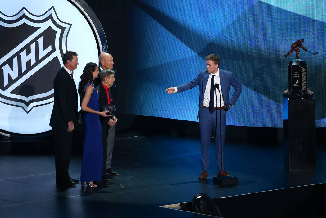 Connor McDavid of the Edmonton Oilers accepts the Ted Lindsay Award (Most Outstanding Player as Voted by NHLPA) during the 2017 NHL Awards and Expansion Draft at T-Mobile Arena on Wednesday, June  ...