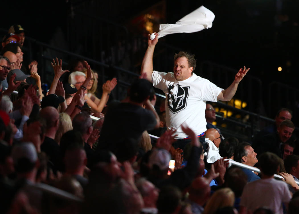 A Vegas Golden Knights promotor throws out t-shirts during the 2017 NHL Awards and Expansion Draft at T-Mobile Arena on Wednesday, June 21, 2017 in Las Vegas. Chase Stevens Las Vegas Review-Journal