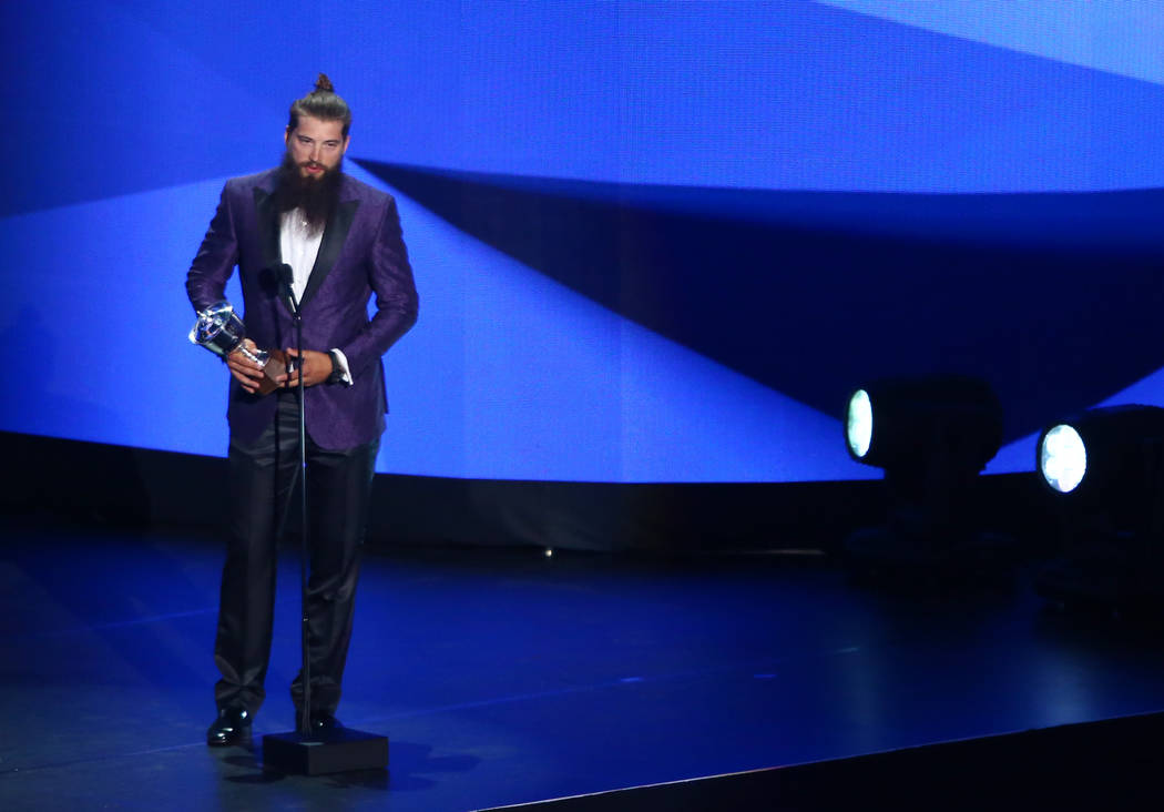 Brent Burns of the San Jose Sharks accepts the James Norris Memorial Trophy (Top Defenseman) during the 2017 NHL Awards and Expansion Draft at T-Mobile Arena on Wednesday, June 21, 2017 in Las Veg ...