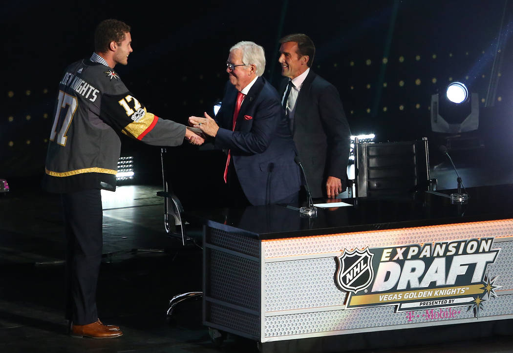 Defenseman Brayden McNabb is congratulated by Vegas Golden Knights owner Bill Foley after being drafted during the first round of the 2017 NHL Expansion Draft at T-Mobile Arena on Wednesday, June  ...