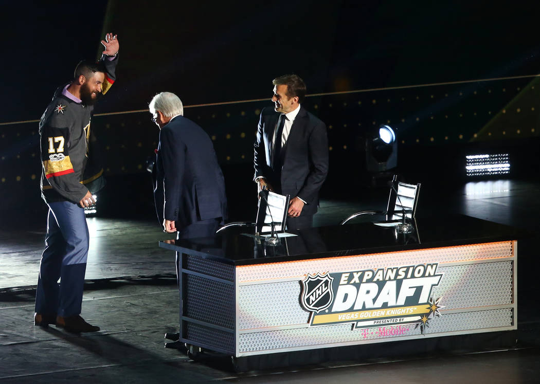 Defenseman Deryk Engelland greets Vegas Golden Knights owner Bill Foley after being drafted by the Knights in the NHL Expansion Draft at T-Mobile Arena on Wednesday, June 21, 2017 in Las Vegas. Ch ...