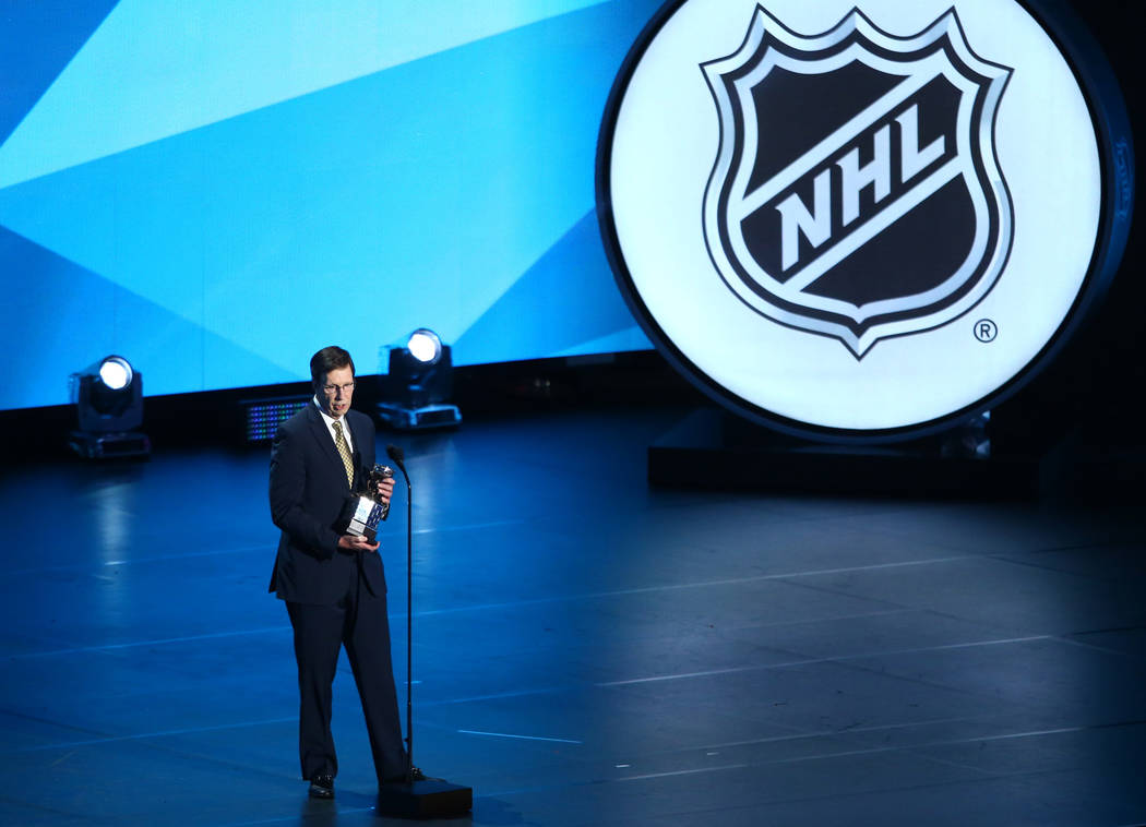 David Poile of the Nashville Predators accepts the NHL General Manager of the Year Award (Most Outstanding General Manager) during the 2017 NHL Awards and Expansion Draft at T-Mobile Arena on Wedn ...
