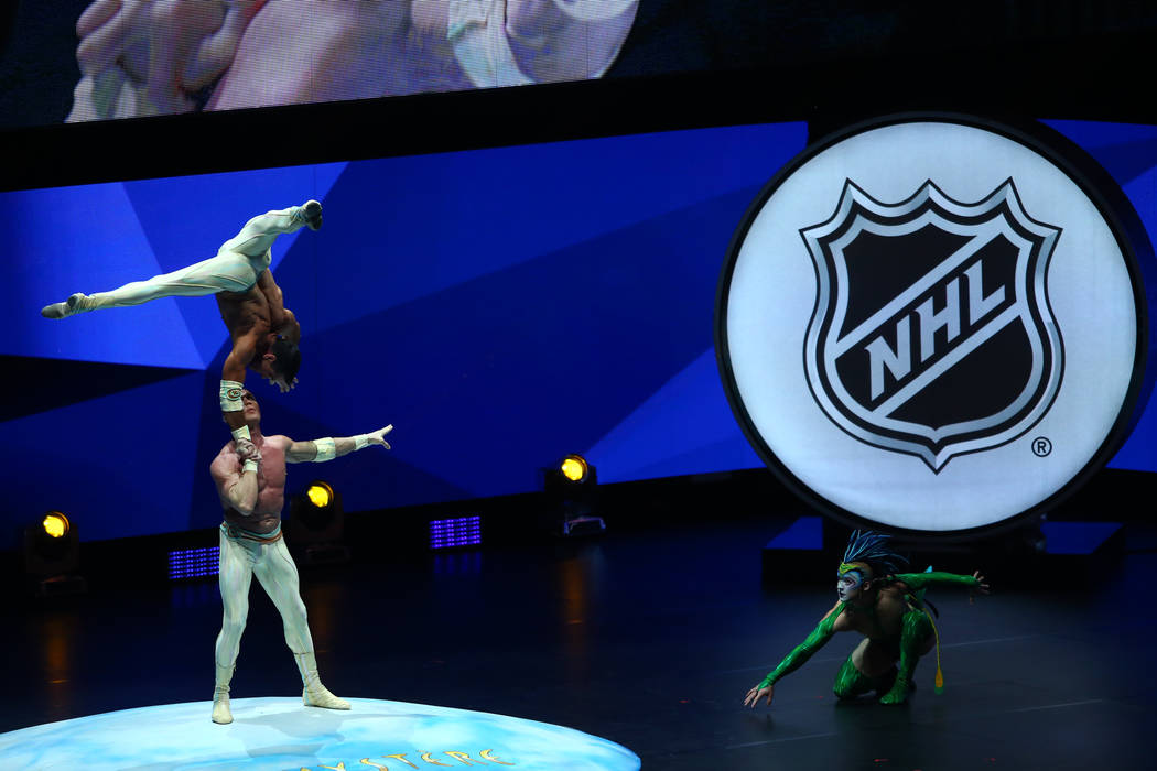 Performers from the Cirque Du Soleil production, Mystere,  during the 2017 NHL Awards and Expansion Draft at T-Mobile Arena on Wednesday, June 21, 2017 in Las Vegas. Chase Stevens Las Vegas Review ...