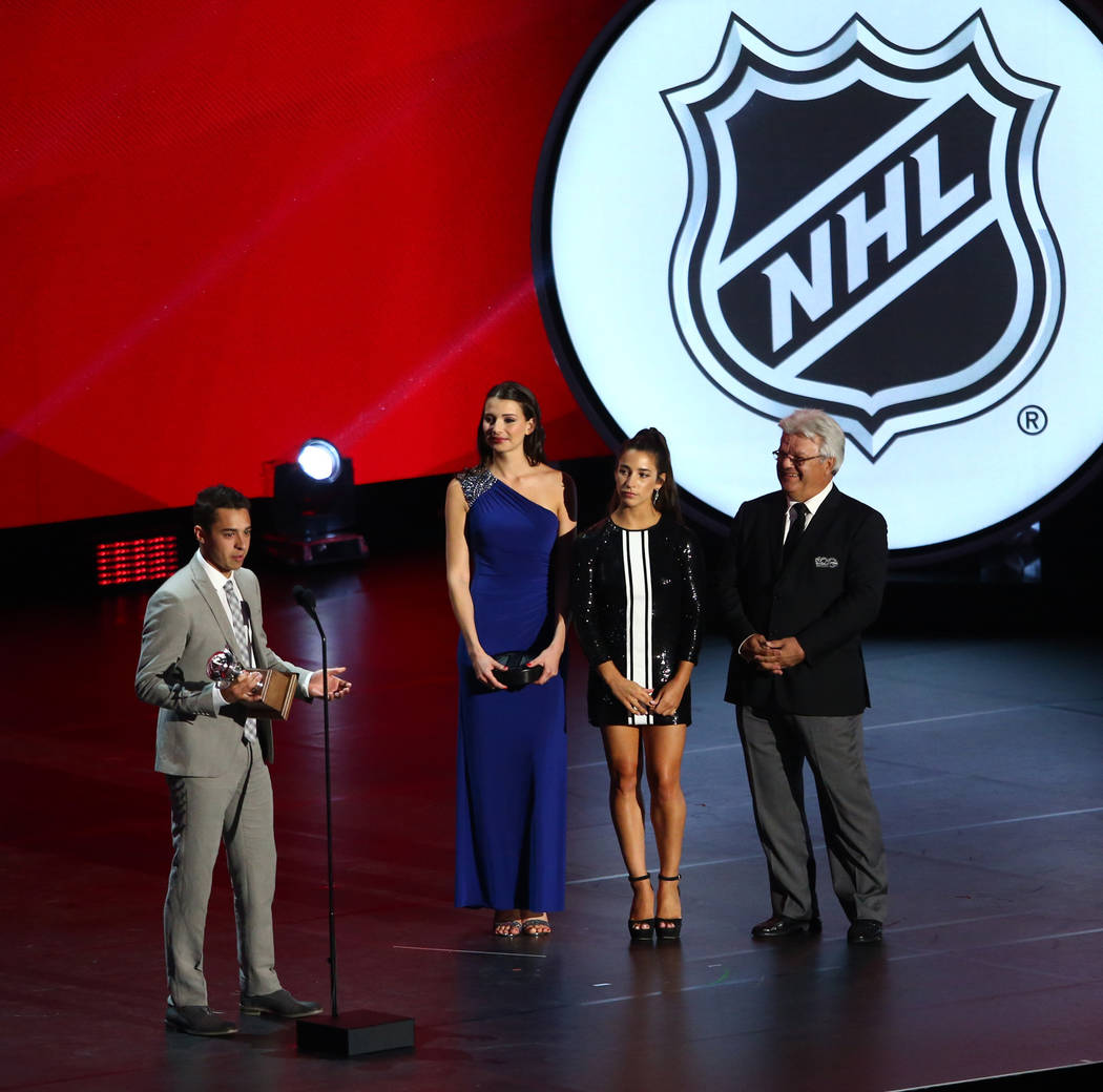 Johnny Gaudreau of the Calgary Flames accepts the Lady Byng Memorial Trophy (Outstanding Sportsmanship and Gentlemanly Conduct) during the 2017 NHL Awards and Expansion Draft at T-Mobile Arena on  ...