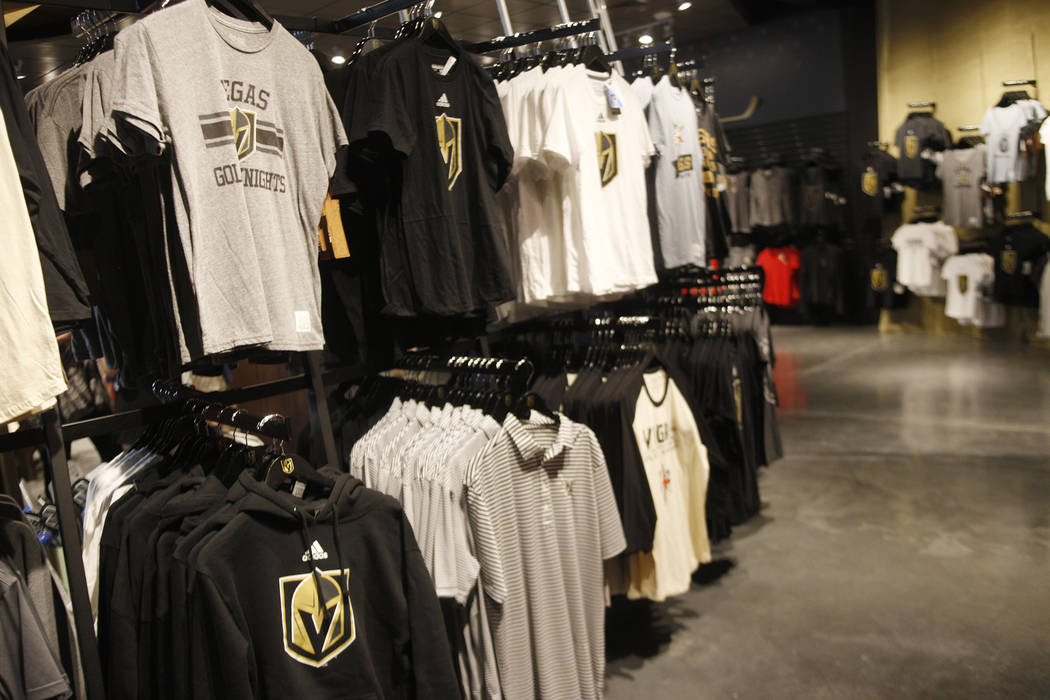 Shirts for sale at the Vegas Golden Knights team store, called the Armory, at the T-Mobile Arena on Monday, June 19, 2017, in Las Vegas. The Armory opened Tuesday. (Rachel Aston/Las Vegas Review-J ...