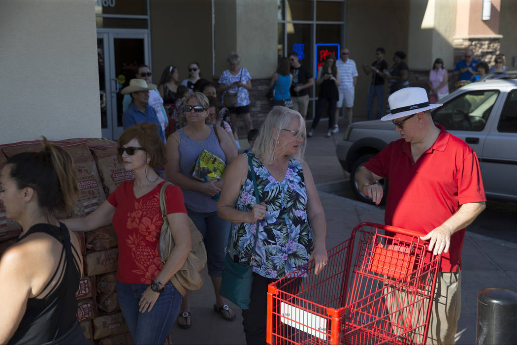 People wait in line for the grand opening of Trader Joe's, 5639 Centennial Center Blvd., on Friday, June 23, 2017 in Las Vegas. Erik Verduzco/Las Vegas Review-Journal