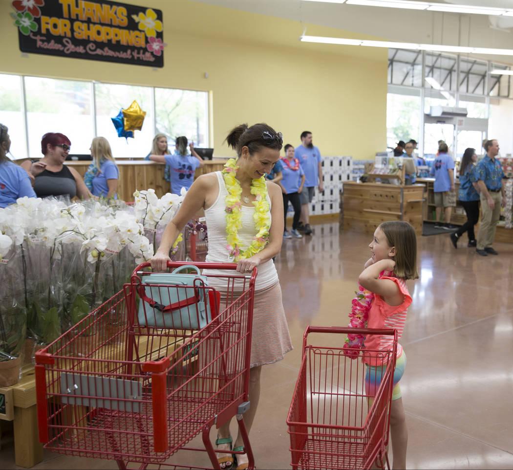 Jeanette Davison, left, and her 7-year-old daughter Madalynn during the grand opening of Trader Joe's, 5639 Centennial Center Blvd., on Friday, June 23, 2017 in Las Vegas. Erik Verduzco/Las Vegas  ...