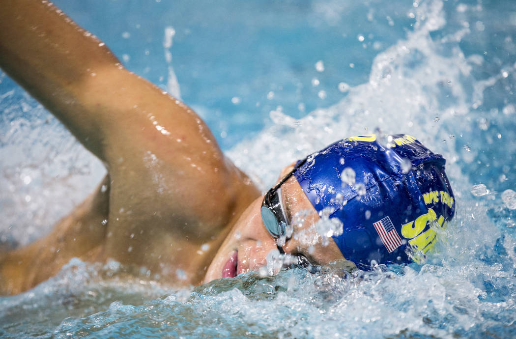 Carter Grimes, a swimmer with the Sandpipers of Nevada, practices at the Desert Breeze Aquatic Center on Thursday, June 22, 2017.  Patrick Connolly Las Vegas Review-Journal @PConnPie