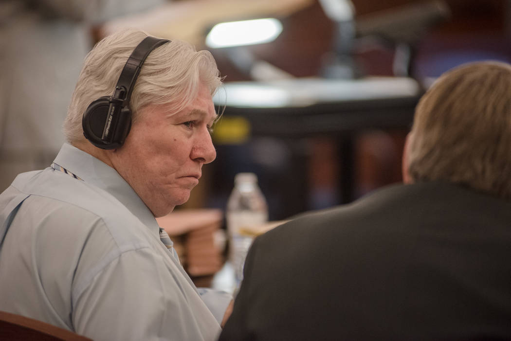 Thomas Randolph exchanges words with one of his attorneys during trial on Wednesday, June 21, 2017, at Regional Justice Center in Las Vegas. Morgan Lieberman Las Vegas Review-Journal