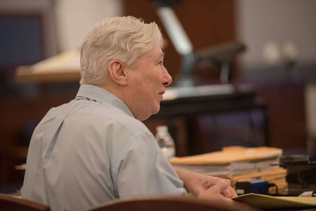 Thomas Randolph exchanges words with his attorneys before trial on Wednesday, June 21, 2017, at Regional Justice Center in Las Vegas. Morgan Lieberman Las Vegas Review-Journal