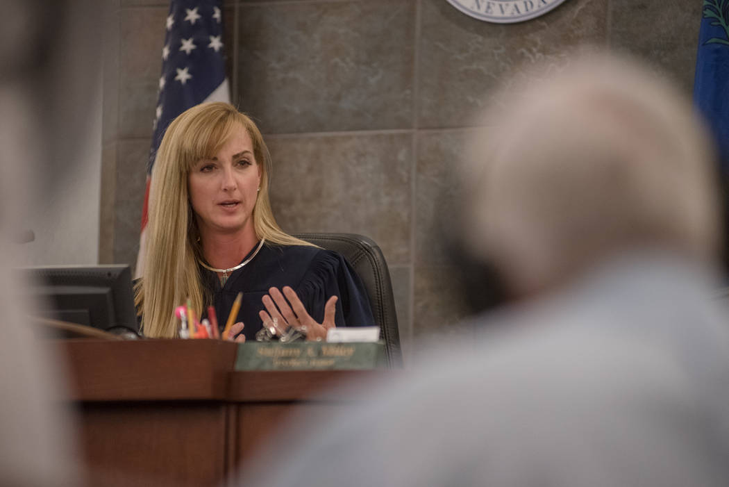Judge Stefany A. Miley discusses opening statements with Thomas Randolph's attorneys before trial on Wednesday, June 21, 2017, at Regional Justice Center in Las Vegas. Morgan Lieberman Las Vegas R ...