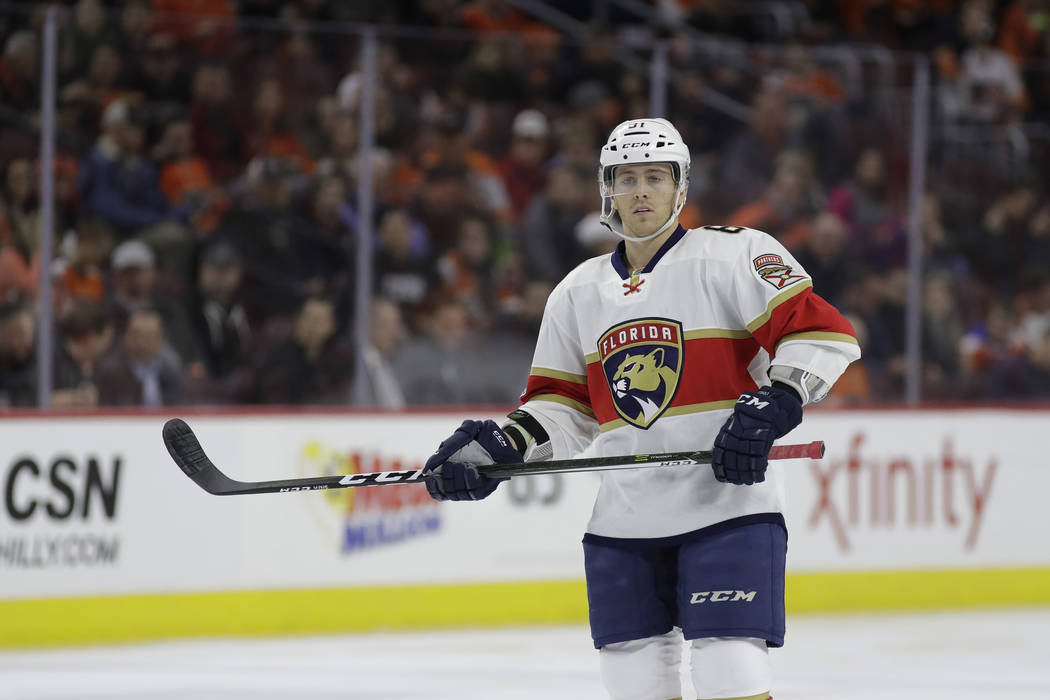 Florida Panthers' Jonathan Marchessault in action during an NHL hockey game against the Philadelphia Flyers, Thursday, March 2, 2017, in Philadelphia. (AP Photo/Matt Slocum)