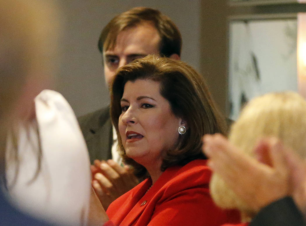 Republican candidate for Georgia's Sixth District Congressional Seat Karen Handel speaks to her staff before an election-night watch party Tuesday, June 20, 2017, in Atlanta. Handel is in a hotly  ...